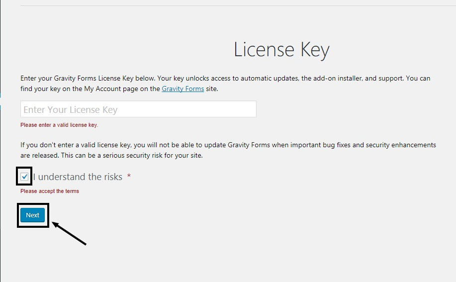Skip License key of Gravity forms